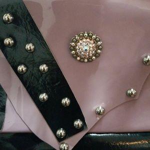 Jeakesona wristlet leather clutch